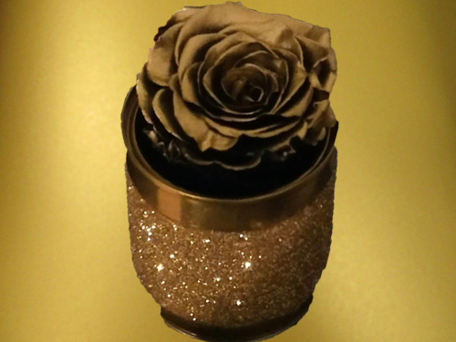 GOLD PRESERVED ROSE in small sparkling box