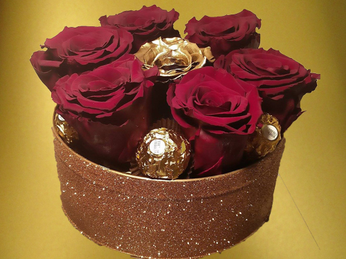 Burgundy and Gold Preserved Roses with Ferrero