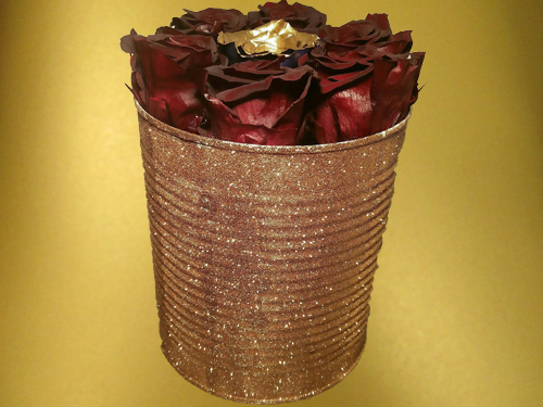 Burgundy and Gold Preserved Roses in high gold sparkling box