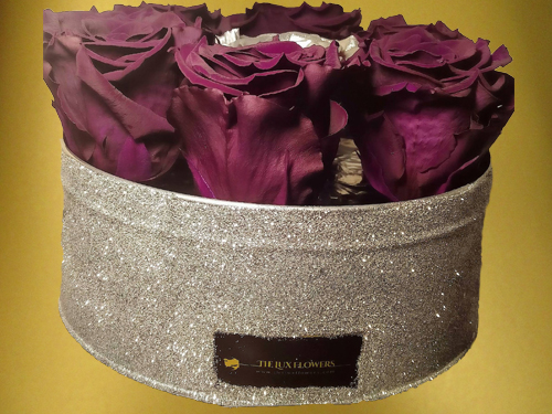 Lilac and Silver Preserved Roses in sparkling silver box