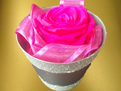 Pink Rose in small silver box