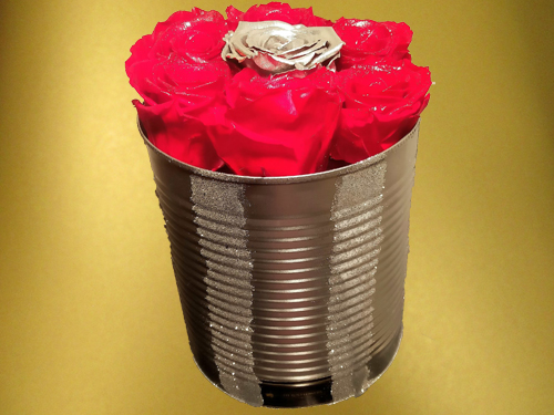 Red and Silver Preserved Roses in silver box