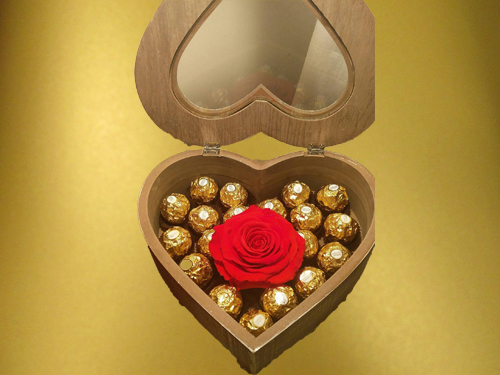 Wooden Heart Shape box with Rose and Ferrero